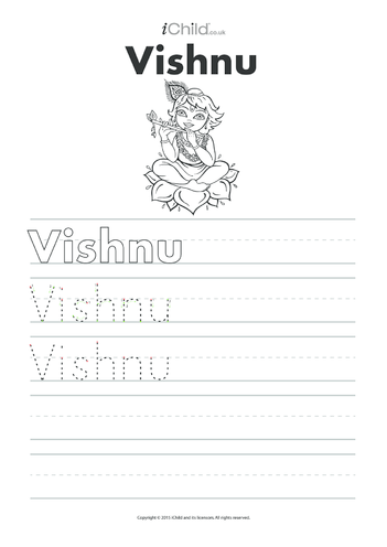 Thumbnail image for the Vishnu Handwriting Practice Sheet activity.