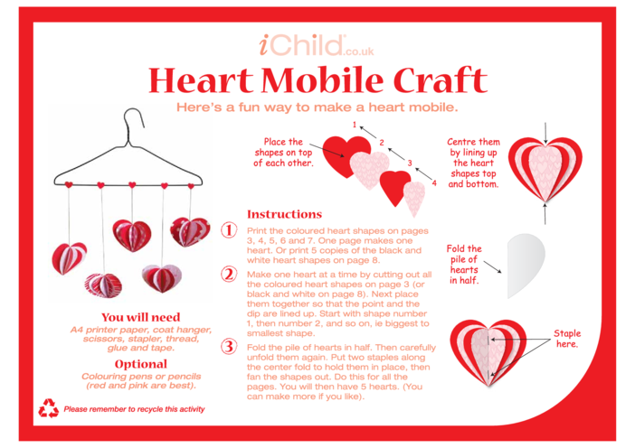Thumbnail image for the Heart Mobile Craft activity.