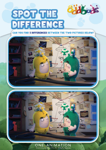 Thumbnail image for the Spot the Difference 3 Oddbods activity.