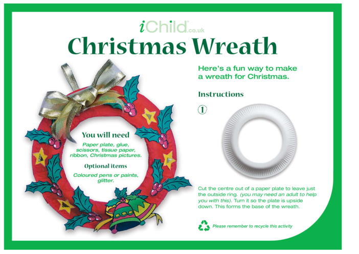 Thumbnail image for the Christmas Wreath Paper Plate Craft activity.