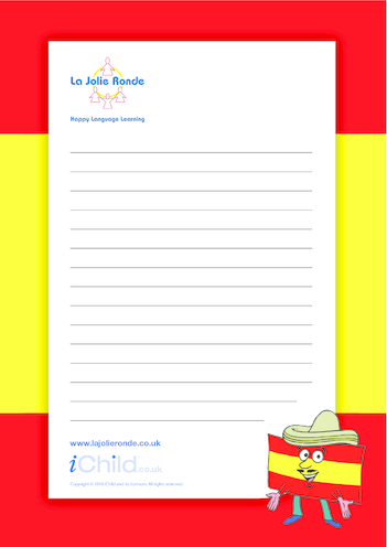Thumbnail image for the Spanish Lined Writing Paper Template activity.