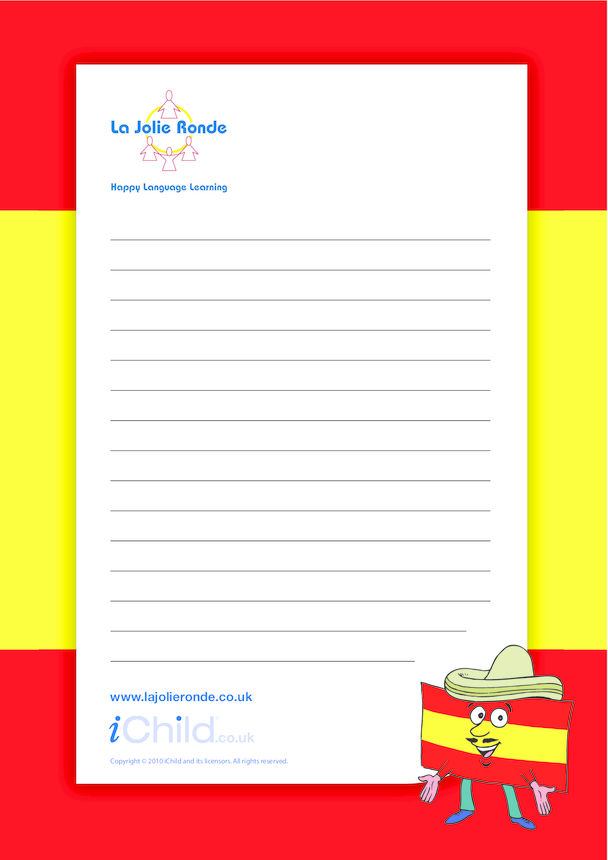 Spanish Lined Writing Paper Template