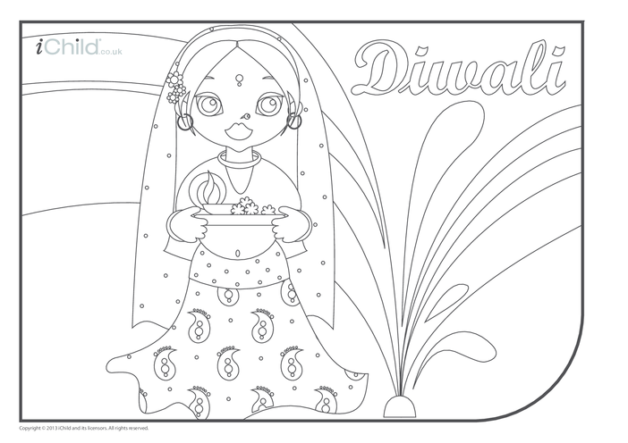 Thumbnail image for the Diwali Colouring in Picture activity.