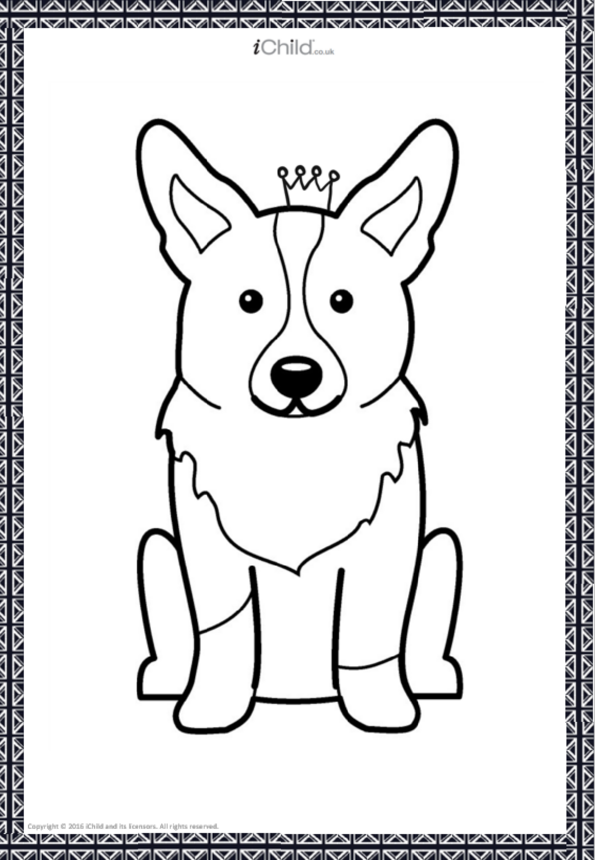 Royal Corgi Colouring in Picture