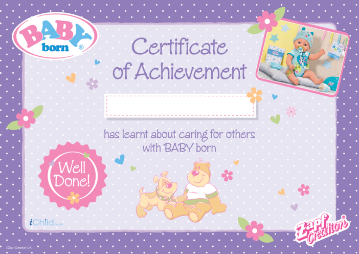 Thumbnail image for the BABY born Certificate of Achievement - Purple activity.
