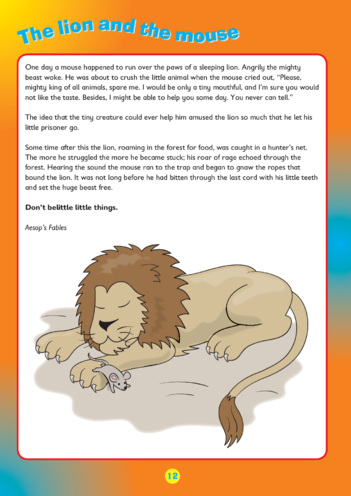 Thumbnail image for the Collins Easy Learning KS2 English, Comprehension, The Lion and The Mouse Story activity.