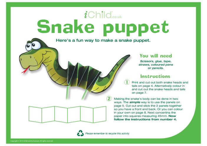 Thumbnail image for the Chinese New Year Snake Craft Puppet activity.