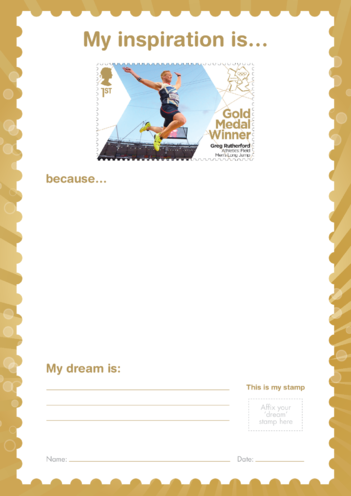 Thumbnail image for the My Inspiration Is- Greg Rutherford- Gold Medal Winner Stamp Template activity.