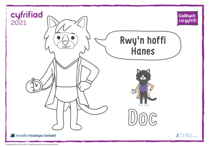 Thumbnail image for the Colour in Counter Cat Doc (Welsh) activity.
