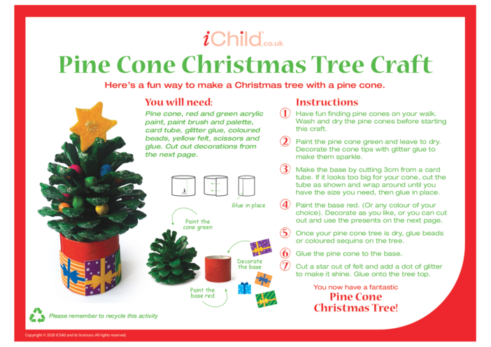 Thumbnail image for the A Pine Cone Christmas Tree Craft activity.