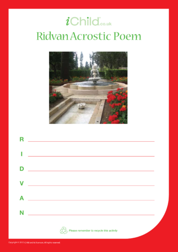 Thumbnail image for the Ridván Acrostic Poem activity.