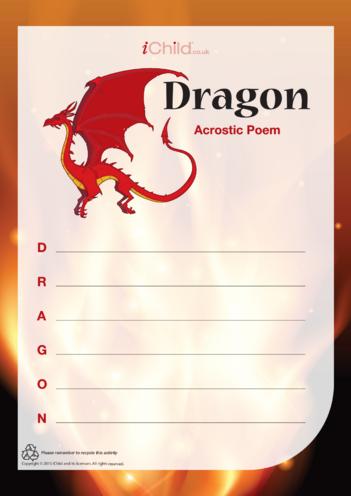 Thumbnail image for the Dragon Acrostic Poem (portrait) activity.