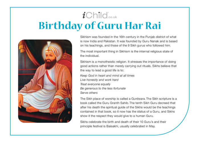 Thumbnail image for the Birthday of Guru Har Rai Religious Festival Story activity.