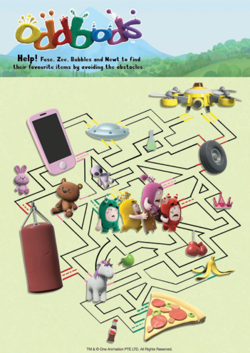 Thumbnail image for the Oddbods Maze - Fuse, Zee, Bubbles & Newt activity.