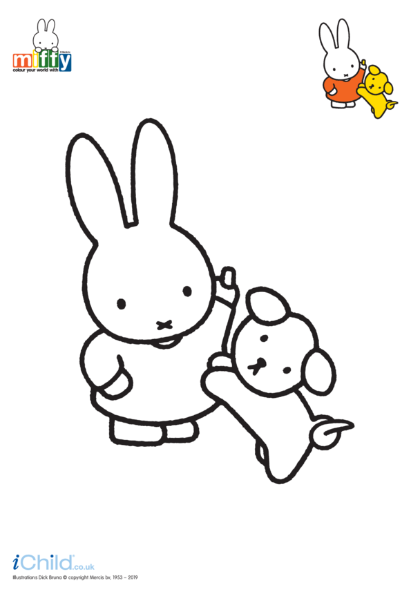Miffy and her Dog Colouring in Picture