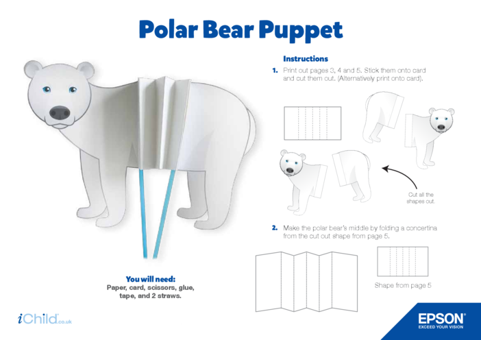 Thumbnail image for the Epson Polar Bear Concertina Puppet Craft activity.