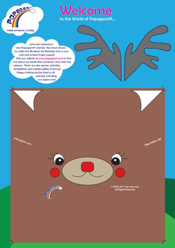 Origami/Popagami Reindeer