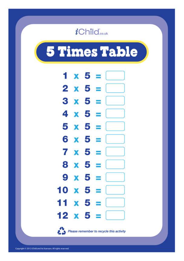 (05) Five Times Table Question Sheet