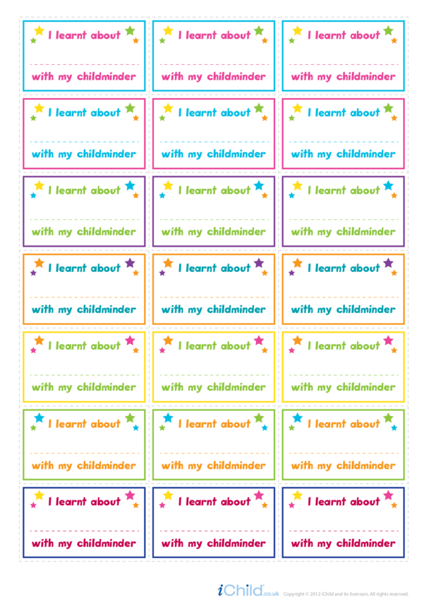 I Learnt About ... Large Sticker Sheet