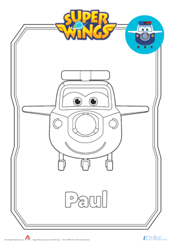 Thumbnail image for the Super Wings: Paul Colouring in Picture (Plane Form) activity.