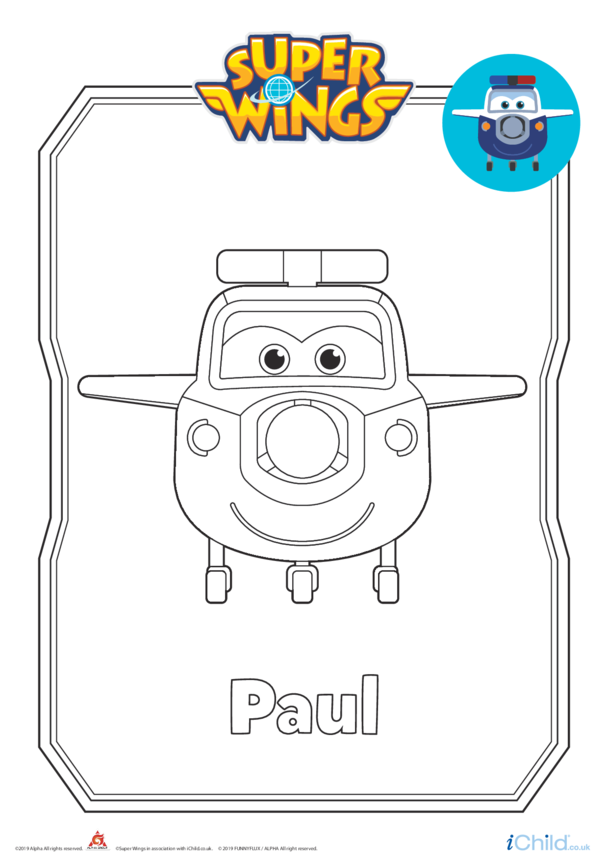 Super Wings: Paul Colouring in Picture (Plane Form)