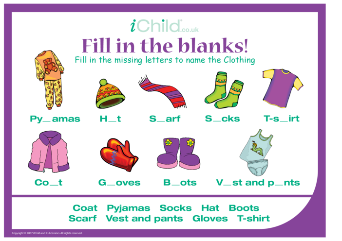 Thumbnail image for the Fill in the Blanks - Clothes activity.