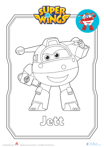 Thumbnail image for the Super Wings: Jett Colouring in Picture (Robot Form) activity.