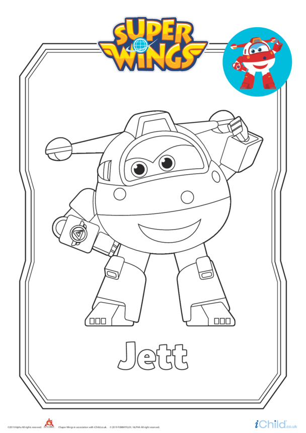 Super Wings: Jett Colouring in Picture (Robot Form)