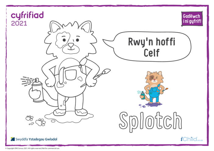Thumbnail image for the Colour in Counter Cat Splotch (Welsh) activity.