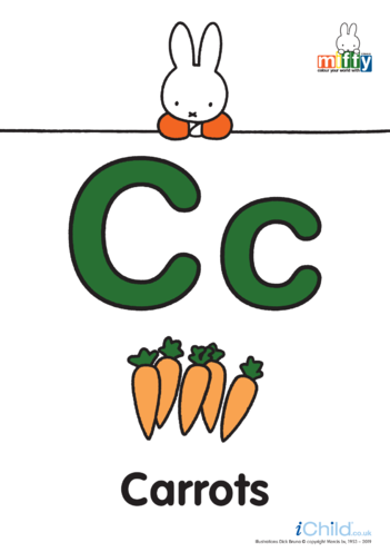 Thumbnail image for the C: Miffy's Letter Cc (less ink) activity.