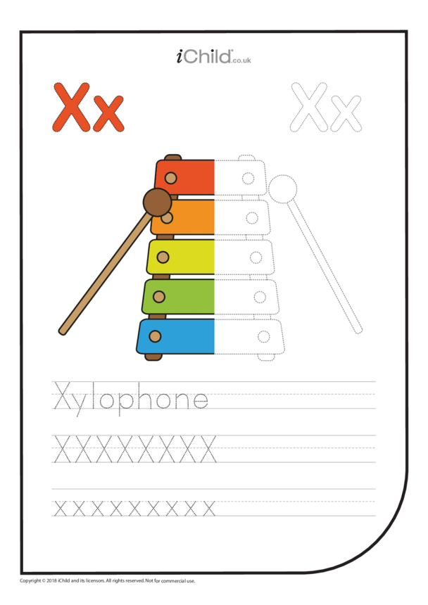 X: Write the Letter X for Xylophone