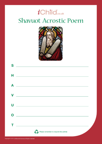 Thumbnail image for the Shavuot Acrostic Poem activity.