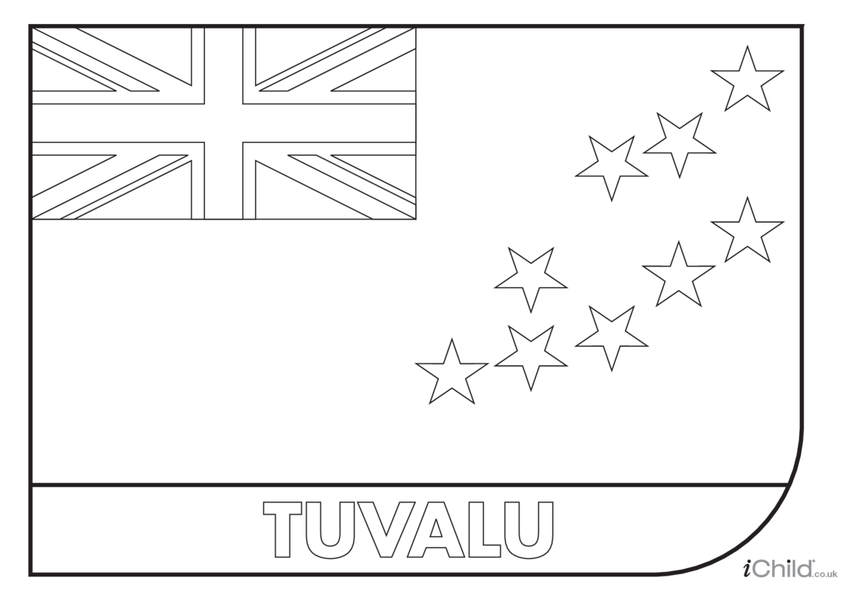Tuvalu Flag Colouring in Picture (flag of Tuvalu)