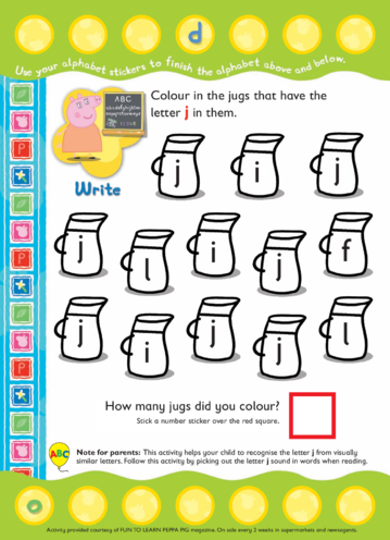 Thumbnail image for the Peppa Pig Colour and Count- Letter J activity.