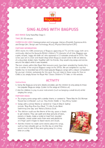 Thumbnail image for the Bagpuss: Sing Along With Bagpuss Lesson Plan (EYFS/KS1) activity.