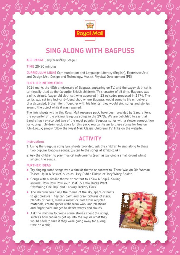 Bagpuss: Sing Along With Bagpuss Lesson Plan (EYFS/KS1)