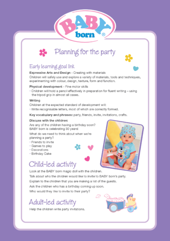 Thumbnail image for the 2021 BABY born Activity 1: Planning for the Party activity.