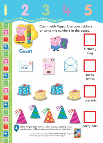 Thumbnail image for the More Counting with Peppa activity.