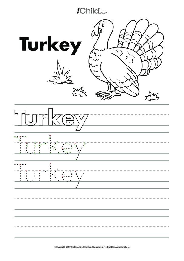 Turkey Handwriting Practice Sheet