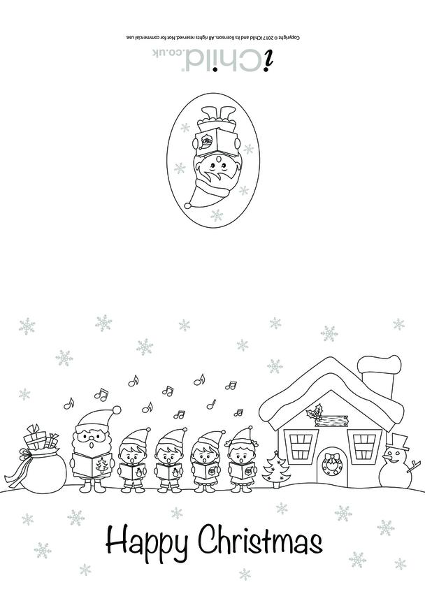Christmas Card - Carol Singers in the Snow (B&W)