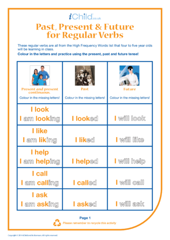 Thumbnail image for the Past, Present & Future Regular Verbs activity.