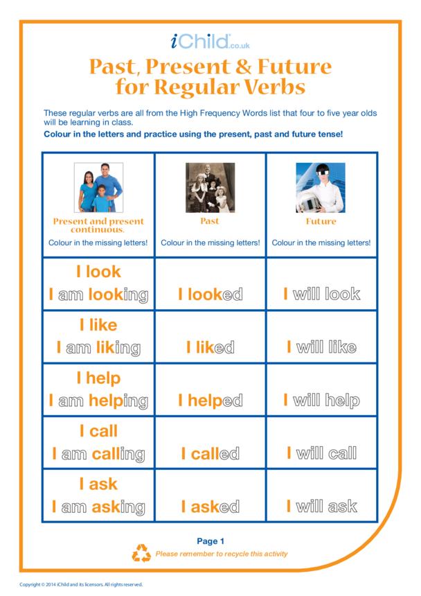 Past, Present & Future Regular Verbs