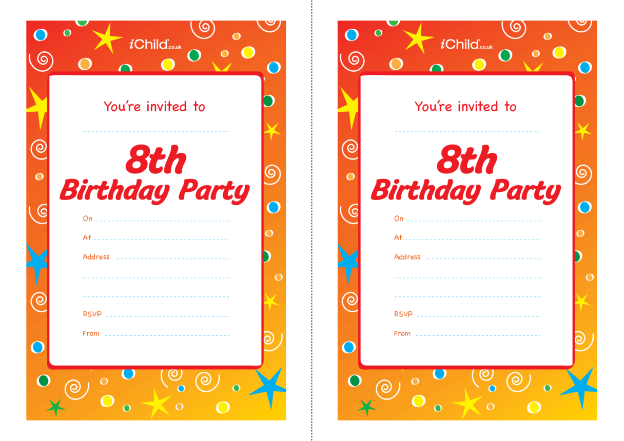 Birthday Party Invitation templates for 8 year old 8th birthday