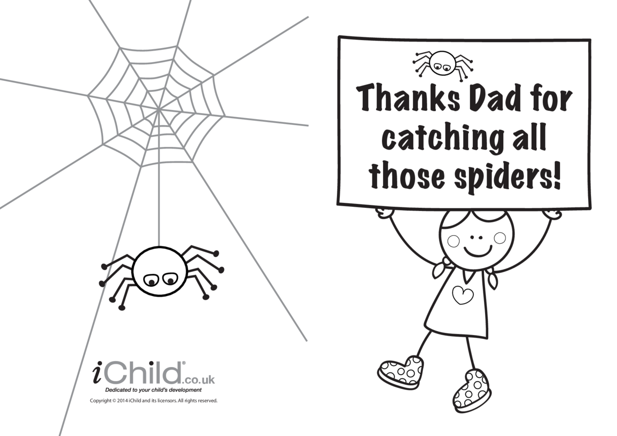 Thanks Dad for catching all those spiders - Father's Day Card