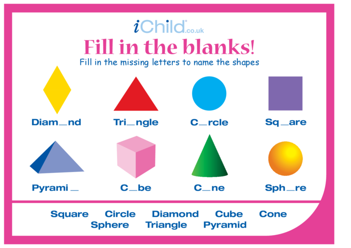 Thumbnail image for the Fill in the Blanks - Shapes activity.