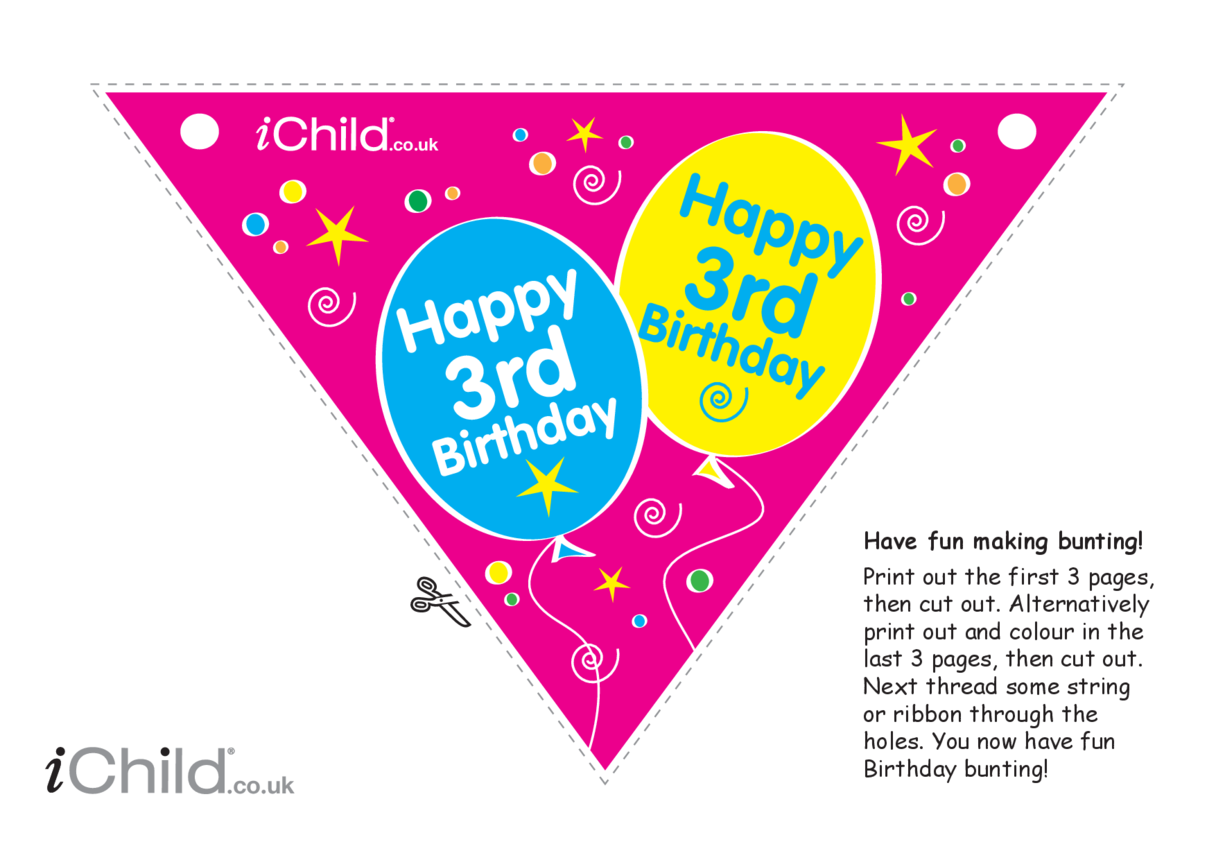 Birthday Party Bunting for 3 year old 3rd birthday