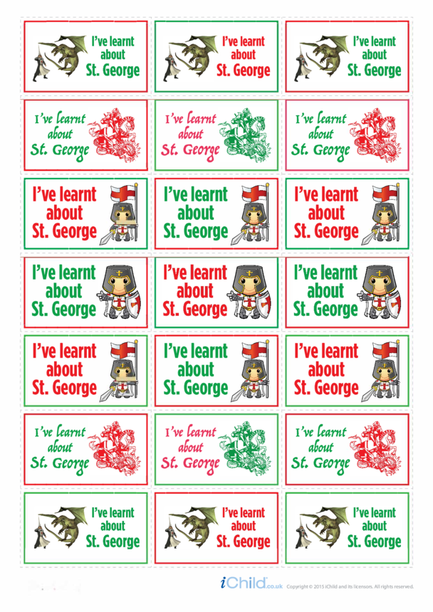 I Learnt about St. George's Day Large Sticker Sheet