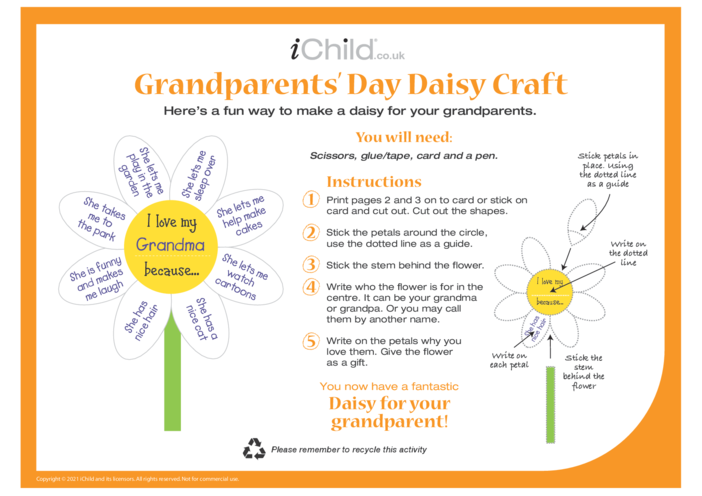 Thumbnail image for the Grandparents' Day Daisy Craft activity.