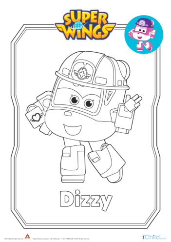 Thumbnail image for the Super Wings: Dizzy Colouring in Picture (Robot Form) activity.