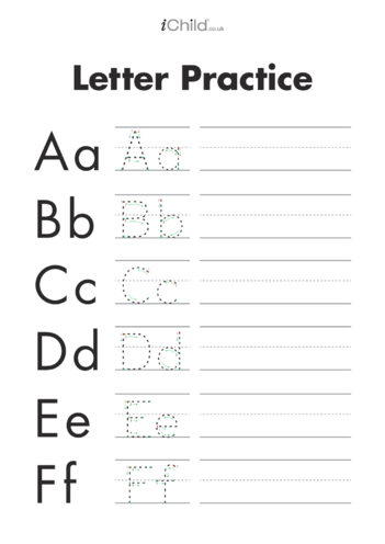 Thumbnail image for the Alphabet Letters Handwriting Practice Sheet activity.